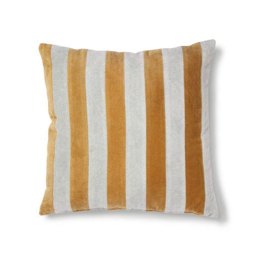 HKLIVING Striped Kussen Velvet - Grey/Gold