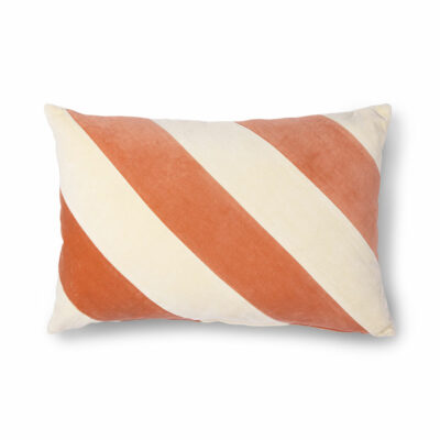 Sttiped Cushion Velvet Peach/Cream