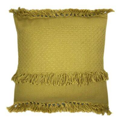 Malagoon fringe cushion - mustard