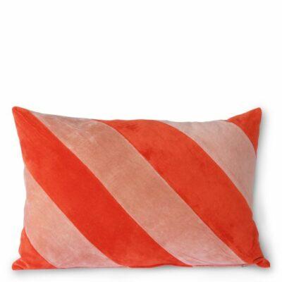 hkliving striped cushion velvet red/pink